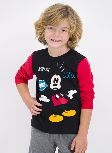 Mickey Mouse Pijama Takım Siyah